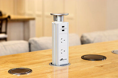 V7GSW Glossy Silver Kitchen Pop Pull Up Power Point Outlet Socket Bench Top
