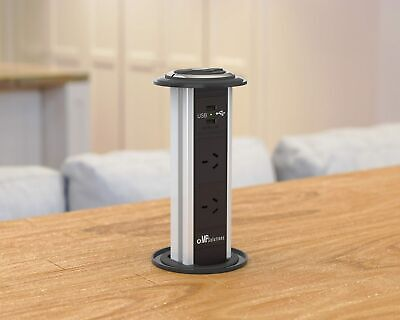 V5WUB Waterproof Kitchen Pop Pull Up Power Point Outlet Socket Bench Top USB