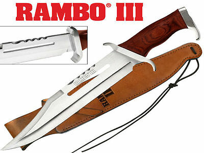Rambo III Bowie Knife (42.5cm) with Leather Embossed Sheath - Brand New