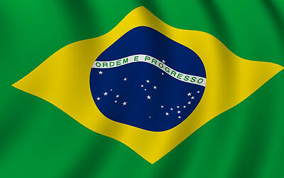 1 x  Brazilian Brazilia Hand Waving Flag-  National Flag of Brazil with Pole