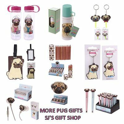 More Pug Gifts - Pug Lovers - Keyring - Head Phones - Flask - Drink - Tag - New