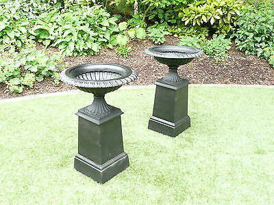 "Pair Of Keats Victorian Superb ""tazza"" Cast Iron Large Quality Garden Urns Black"