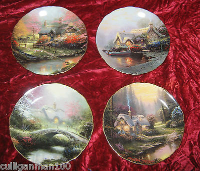 "1 - Lot of 4 Thomas Kinkade's "" Romantic Hideaways plates"" (2016-192)"