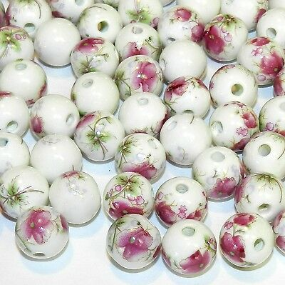 CPC355p White w Pink Floral Embellishments 12mm Round Porcelain Beads 24/pkg