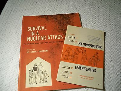 Lot of 2 Vintage Survival Pamphlets Nuclear Attach Radioactive Fallout 1960s