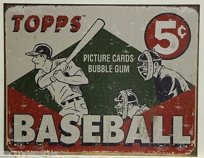 TOPPS BASEBALL CARD'S Metal Sign of vintage ad weathered look bubble gum   1643