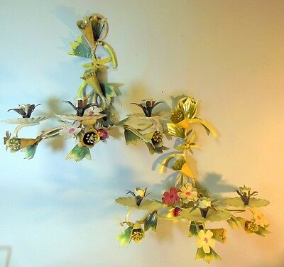 Vtg Pr Painted Tole Sconces Wall Candleholders Lilies Flowers Italian Garden