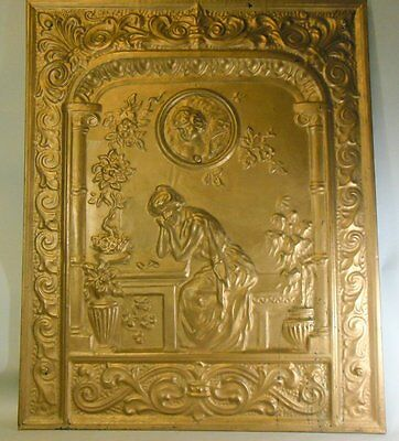Antique Victorian French Rococo Classic Fireplace Gold Tin Screen Cupid Picture