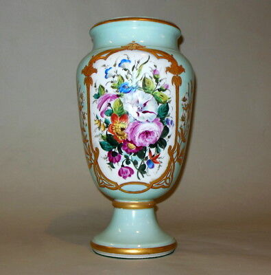 "Tall 15"" Antique French Porcelain Old Paris SIGNED Golse Vase Urn Floral Chateau"