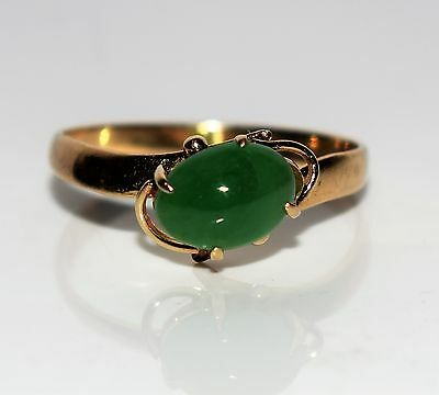 Vintage 14K Yellow Gold Jade ring size L ~ US 5 3/4