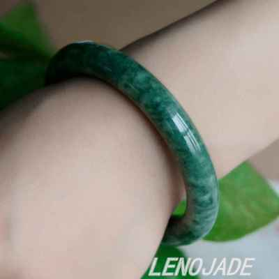 58mm Vintage Beautiful Nature 100% Real Jade Jadeite Bangle Bracelet Black Green