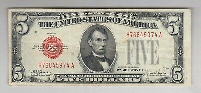 $5 DOLLAR 1928 RED SEAL OLD United States Legal Tender Note US Bill Paper Money