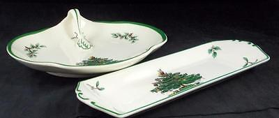 """Spode CHRISTMAS TREE  8"""" Handled Tray + Mint Tray S3324 GREAT CONDITION"""