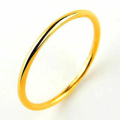 Hot New Arrival Pure 999 24K Yellow Gold Band Women's Smooth Ring US5-9.5