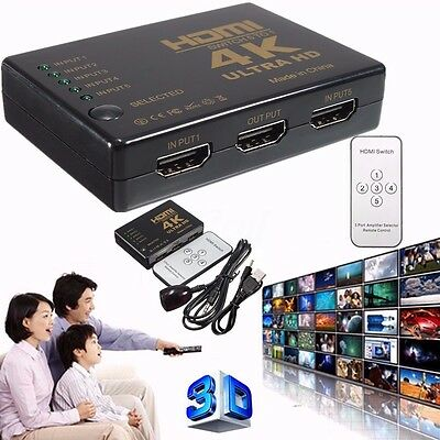 4K 5-Port 1080p HDMI Switcher Selector Splitter Hub Remote Control For PS3 HDTV