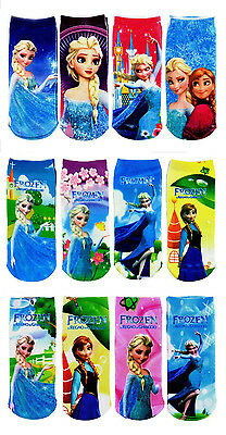 Select More 12 Pairs Frozen Socks Anna & Elsa Princes Size 18CM (5-12 years)