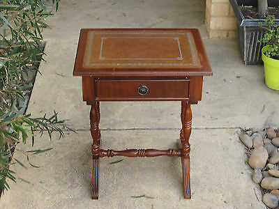 Vintage Mid Century Leather Top Hall Telphone Table With Drawer.