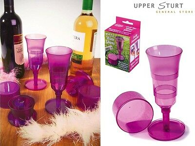 Pop Up Wine Glass Plastic 1 Wine Glasses Pink. FAST 'N FREE DELIVERY