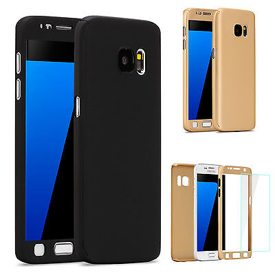 360° Shockproof Hard Case Cover + Tempered Glass For Samsung Galaxy S6 S7