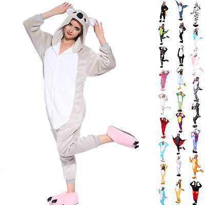 Adult Unisex Coral Fleece Animal Kigurumi Jumpsuit Pajamas Sleepwear Playsuit AU