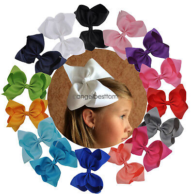 8 Inch Girls Big Large Hair Bows Grosgrain Ribbon Rainbow BowKnot Alligator Clip
