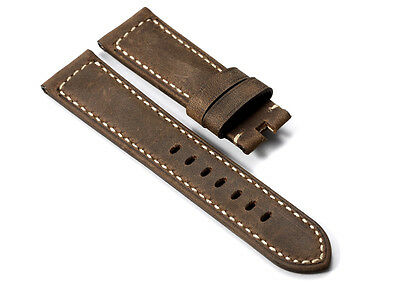 22mm 24mm Dark Brown Genuine Asso Leather Watch strap Wristbands For Panerai
