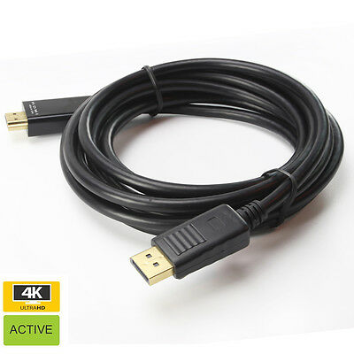 High Definition Gold Plated M-M Displayport DP to HDMI HDTV Adapter Cable 4K 3M