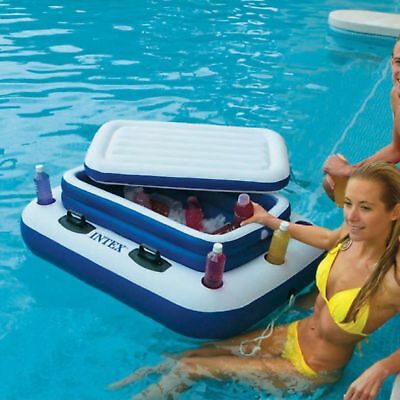 Pool Drinks Cooler Floating Bar Ice Tub Chiller Inflatable Beer Holder Beach