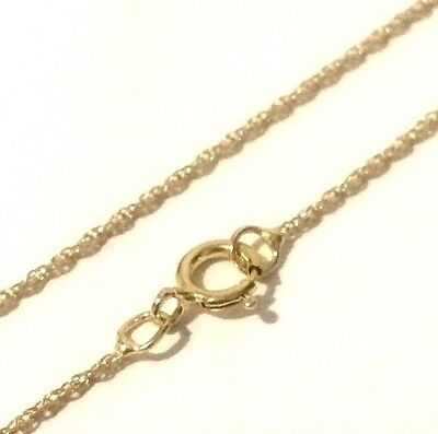 "100% GENUINE & PURE REAL 9ct 9k 375 Yellow Gold 18"" 45cm Rope Chain Necklace"