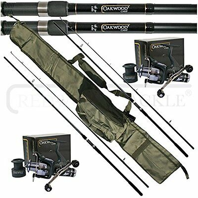 OAKWOOD 12ft 2.5tc Rods x 2/Double Handle Freespool/BTR Reel x 2 & Carp holdall