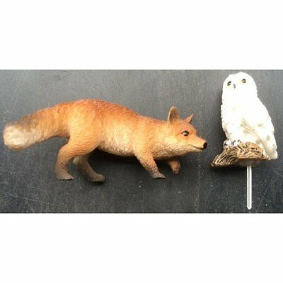 Miniature Prowling Fox and Owl by Vivid Arts