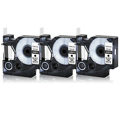 """3PK 45013 Black on White Label Tape For DYMO D1 Labelmanager S0720530 12mm 1/2"""""""