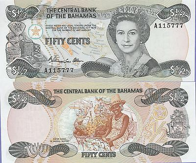 Bahamas Fifty Cents Banknote 1974,(1984) Uncirculated Condition Cat#42-A-5777
