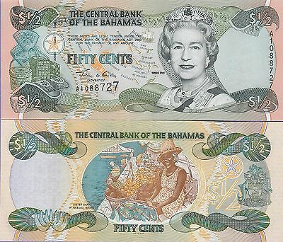 Bahamas Fifty Cents Banknote (2001 Series) Uncirculated Condition Cat#68-8727