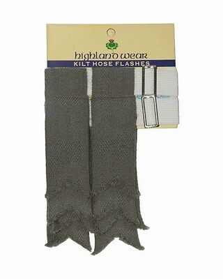 New Mens Weathered Green 100% Acrylic Wool Kilt Hose Flashes with Garters