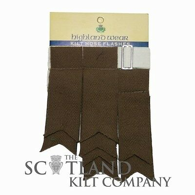 New Mens Brown 100% Acrylic Wool Kilt Hose Flashes with Garters