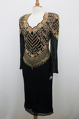 Jasdee Vintage Dress Long Sleeve Bead & Sequins Hand Work On Silk Style 5063