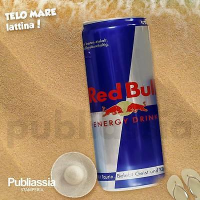 telo mare in microfibra 100x160 cm a forma di lattina red bull