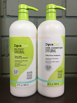 DevaCurl No Poo Original & One Condition Original 32oz LITER DUO SET W/ PUMPS