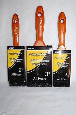 "3 LOT All Purpose All Paints LINZER PAINT BRUSH 2-2"" Brushes 1-3"" Brush"