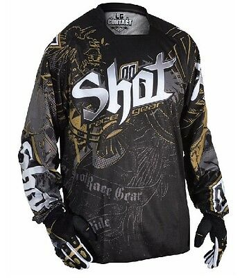 Shot Race-Gear Contact Motocross Jersey (Black-White-Gold) Medium