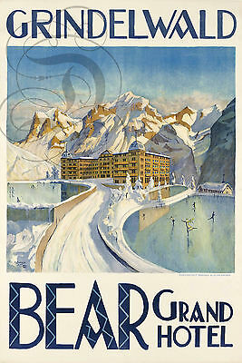 Repro Deco Affiche Grindelwald Bear Grand Hotel Neige Ski Papier 310 Ou 190 Grs