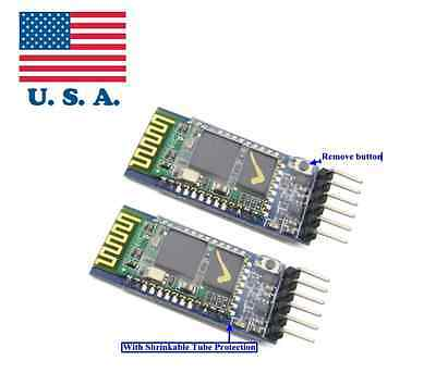 2pcs Wireless Serial 6 Pin Bluetooth RF Transceiver Module HC-05 RS232 Master