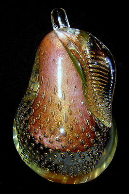 """Murano Gold Dust Controlled Bubble Pear Art Glass Bookend 6"""" Gorgeous"""