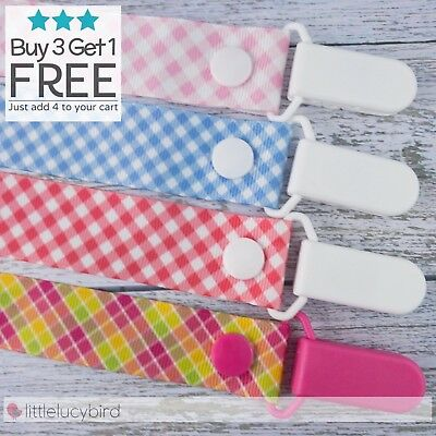 Gingham Dummy Clip - Pacifier Clips - Soother Chain - Baby Gift
