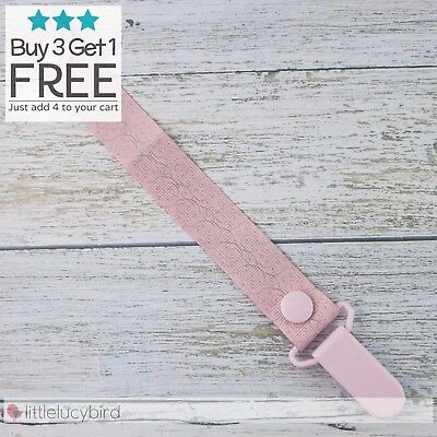 Pink/Grey Swirl Dummy Clip - Pacifier Clips - Soother Chain
