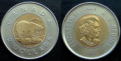 2008  CANADA  2$ Toonie - Hard to Find - UNC from Mint Roll