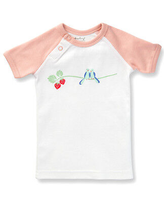 Sapling Child Girls Bluebirds Print Graphic Tee 100% Organic Cotton Babywear