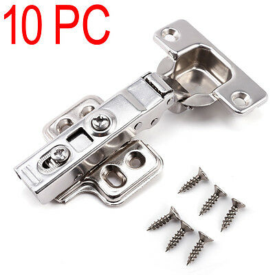 10pcs Soft Close Full Overlay Kitchen Cabinet Cupboard Hydraulic Door Hinge New