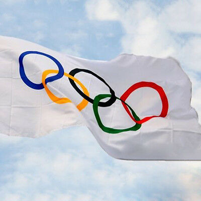Summer Olympic Flag 5 x 3 FT 100% Polyester With Eyelets Banner Sign Rings Cool